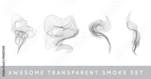 Poster Fumee Vector Collection or Set of Realistic Cigarette Smoke or Fog or Haze with Transparency Isolated can be used with any Background