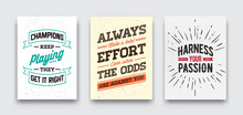 Set Of Vector Grunge Concept With Inspiration Phrase For Poster Or T-shirt. Creative Motivation Quote Collection.