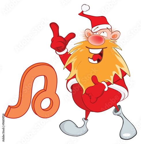 Papiers peints Chambre bébé Illustration of a Cute Santa Claus. Astrological Sign in the Zodiac Leo. Cartoon Character