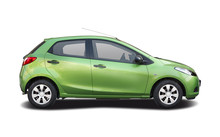 Green Hatchback City Car Isolated On White