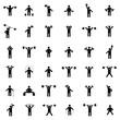 Set athlete silhouettes, vector illustration