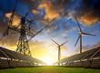 Leinwandbild Motiv Solar panels with wind turbines and electricity pylon at sunset. Clean energy concept.