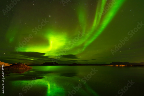 Northern lights (Aurora Borealis) reflected in the lake Poster