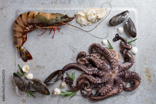 Poster  Food background with seafood