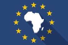 European Union  Long Shadow Flag With  A Map Of The African Cont