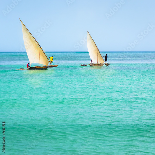 Ngalawa boats typical Zanzibar