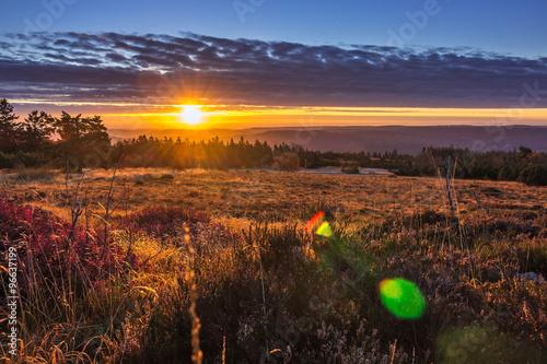 Foto op Plexiglas Aubergine Sonnenaufgang auf dem Schliffkopf, Schwarzwald
