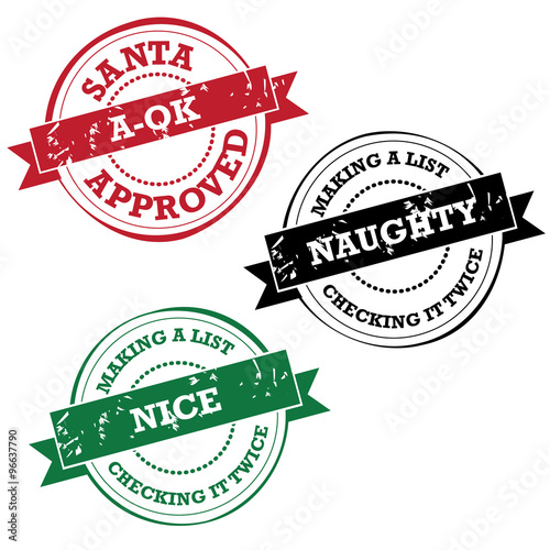 Foto Santa Claus rubber stamp collection Naughty nice and a-ok EPS 10 vector stock