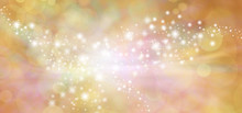 Golden Starry Glitter Warm Toned Bokeh Background Banner - Wide Autumnal Orange And Gold  Sparkling Glittery Star Speckled Background With A Whoosh Of Movement In The Middle