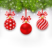 Illustration Wallpaper Fir Twigs and Red Glassy Balls for Happy Winter Holidays