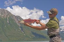 Fisherman Holding A Sockeye Sa...