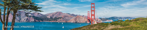 Spoed Foto op Canvas Brug Panorama of the Golden Gate bridge