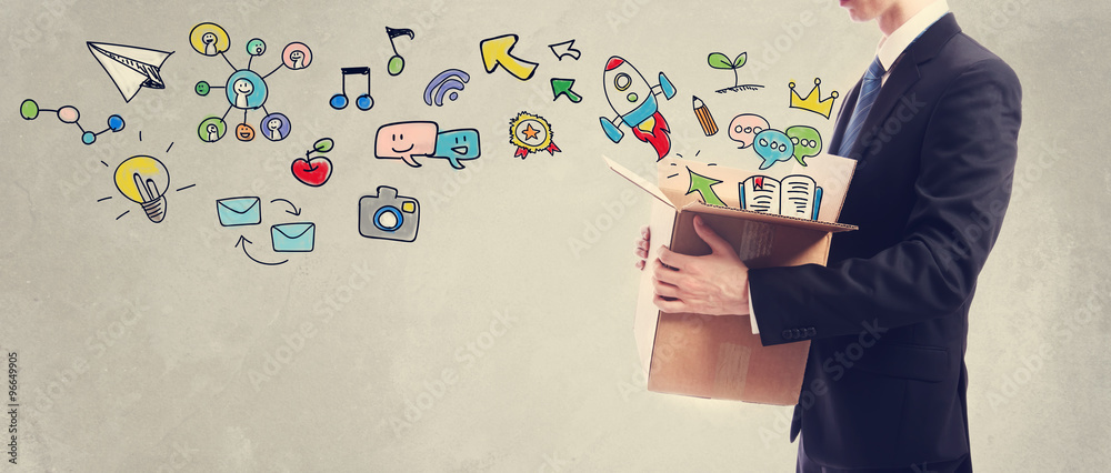 Fototapety, obrazy: Creativity concept with businessman holding a box