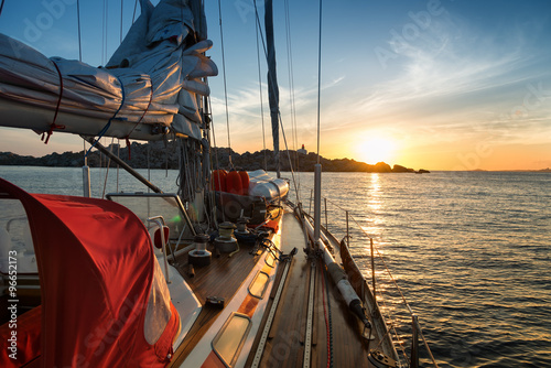 sunset from sail boat Canvas