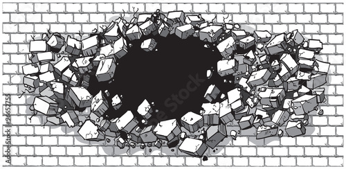 Fotografie, Obraz  Hole Breaking Through Wide Brick Wall