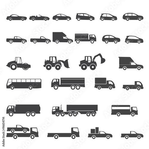 car icons mono symbol vector illustration
