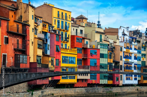 Foto op Canvas Barcelona Colorful houses of Girona in Catalonia