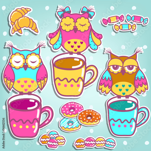 Poster Hibou Sample cards with an owls, with cups and cakes