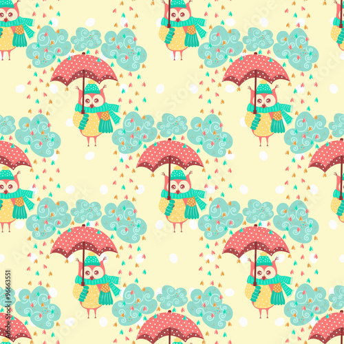 Poster Hibou Seamless pattern with clouds and owls with an umbrella
