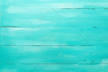 Vintage Turquoise Wood Board Painted Background