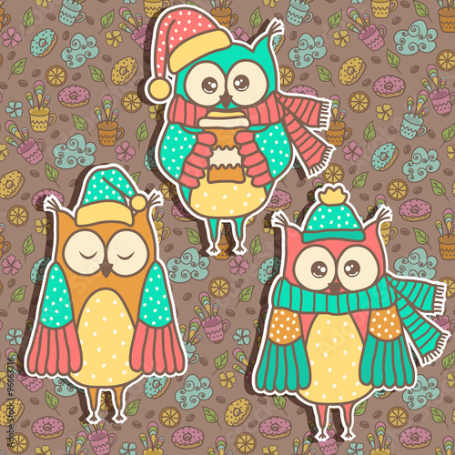 Poster Hibou Three funny owl on a dark background