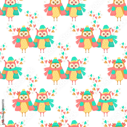 Poster Hibou Seamless pattern of colorful owls on a white background