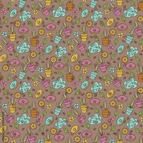 Poster Hibou Seamless pattern with cups, lemon and sweets