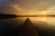 Sunset at the beautifull Lake Hopfensee in Germany.