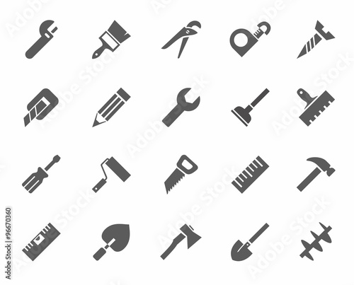 Fotomural  Tools, icons, monochrome.