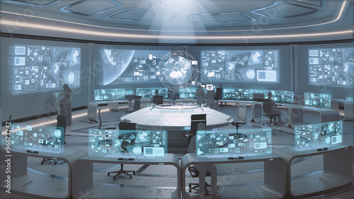 Fototapeta  3D rendered modern, futuristic command center interior with people silhouettes
