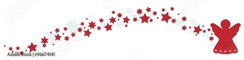Foto-Leinwand ohne Rahmen - Roter Engel mit Sternen und Schneeflocken (von Artalis-Kartographie)