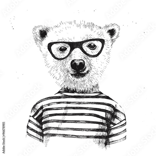 Hand drawn Illustration of dressed up hipster bear