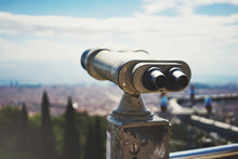 Сoin-operated Binoculars Overlooking The Panorama Of The City