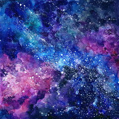 FototapetaSpace hand painted watercolor background. Cosmic texture with stars. Abstract background