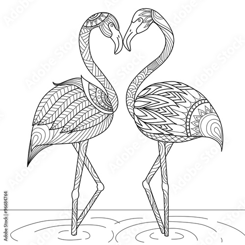 Photographie Hand drawn flamingo couple zentangle style for coloring book,invitation card,log