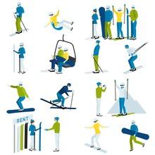 Ski Resort People  Icons Set