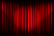 Red Curtain With Beams Of Light