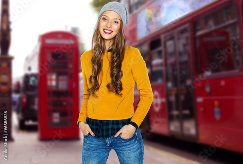 Foto op Canvas Londen rode bus happy young woman or teen over london city street