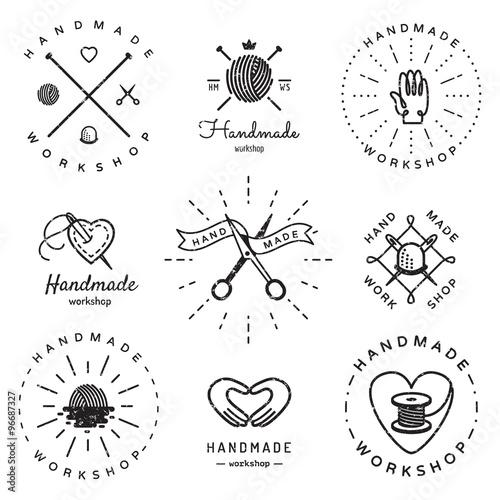 Fotografie, Obraz  Handmade workshop logo vintage vector set