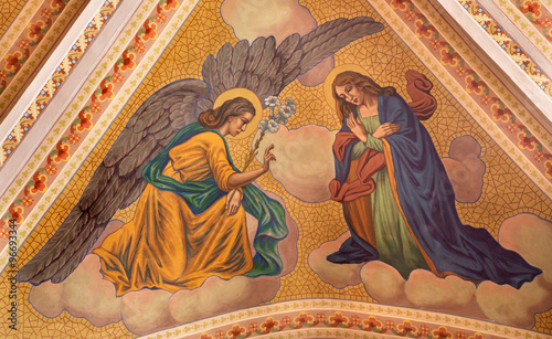Banska Stiavnica - The Annunciation fresco on the ceiling of parish church