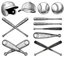 Vector Baseball Equipment Illustrations