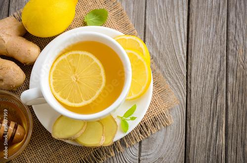 Photo  Chamomile tea with lemon, ginger and honey