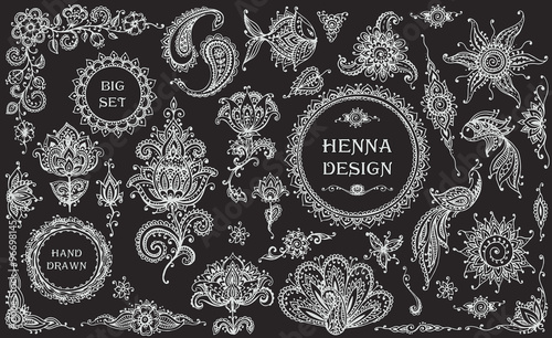 Big vector Set of henna floral and animal elements and frames Fototapete