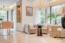 Living Room With Crystal Chandelier