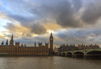 Sunset clouds above Westminster