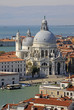 VENICE, ITALY - SEPTEMBER 02, 2012: Aerial view of the Basilica Santa Maria della Salute from St Mark's Campanile bell tower