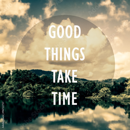 Photo  Meaningful quotes on the pond and mountain with cloudy blue sky