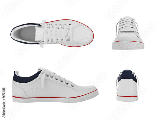 Fotografia  White pair of sport sneakers from four side