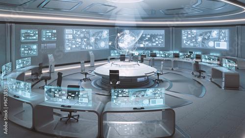 Photo  3D rendered empty, modern, futuristic command center interior