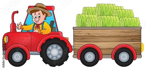 Fotobehang Boerderij Tractor theme image 1